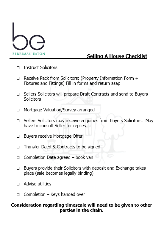 checklist selling house