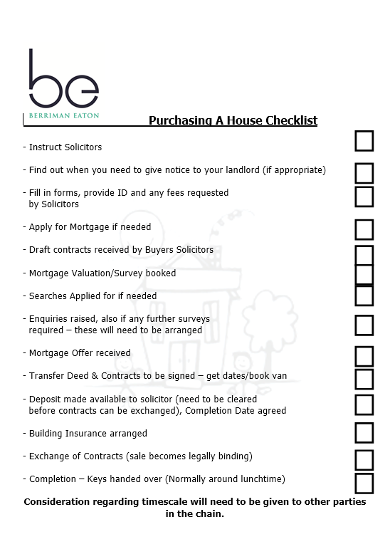 purchasing house checklist