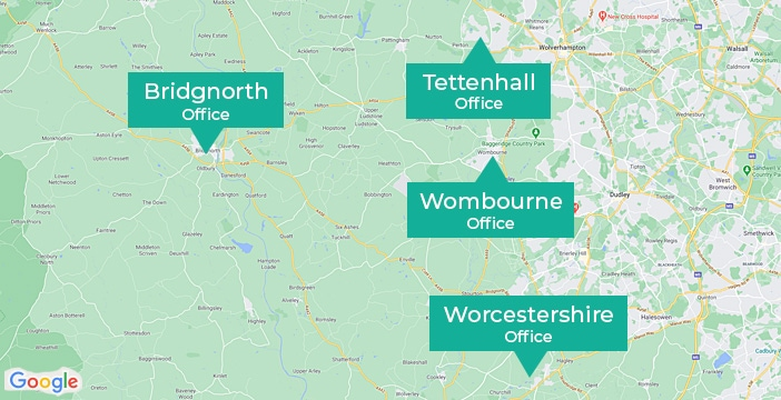 Map showing the location of Berriman Eaton offices in Tettenhall, Bridgnorth, and Wombourne
